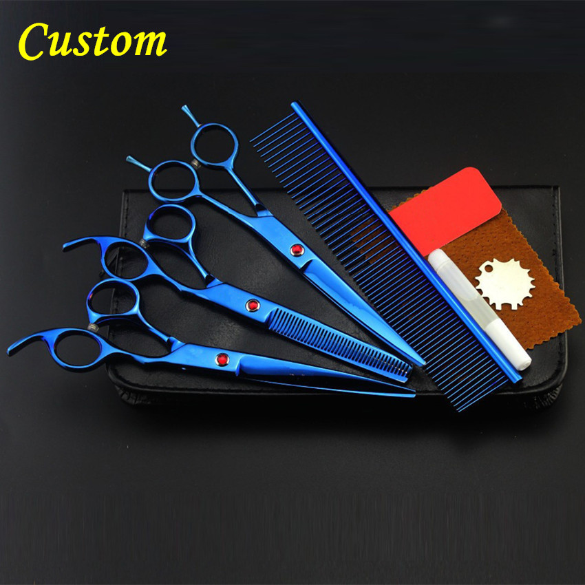 Custom logo Professional japan 4 kit pet 8 inch shears dog grooming hair scissors cutting thinning barber hairdressing scissors 4 kit professional 8 inch pink pet grooming shears cutting hair scissors case dog grooming thinning barber hairdressing scissors