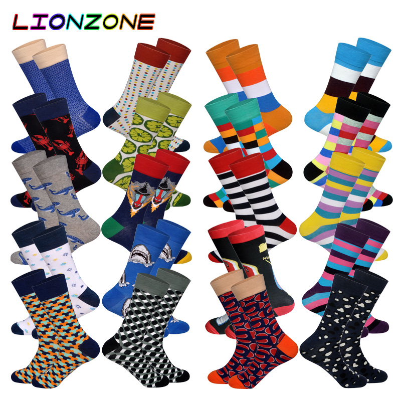 Humble Lionzone 2pairs/lot Brand Men Socks Dress Funny Design Streetwear Ourdoor Holiday Gifts Novelty Cotton Long Happy Socks Men's Socks