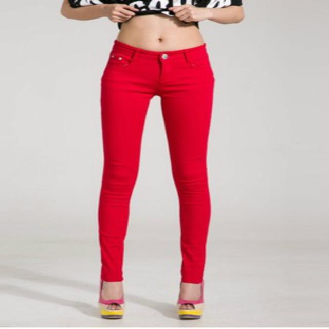 Lossky Reparto Estupendo 2016 de La Moda de Las Mujeres Dulces de Colores de Lápiz Pantalones Flacos Otoño Primavera Sexy Fit Jeans Tallas grandes Pantalones Casual