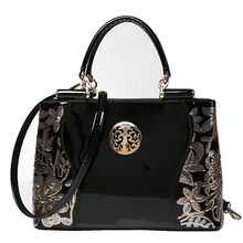 Women Leather Handbags Messenger Bags New Fashion Sequins Embroidered Patent Leather Ladies Tote Shoulder Bags 2016 High Quality