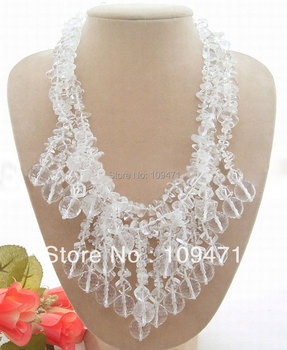 Stunning! 3Strands White Crystal Necklace-Toggle Clasp