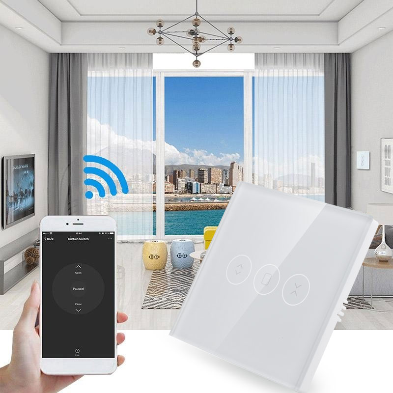 Wall Switch Wifi Electrical Blinds Switch 86 Type Timing Wifi Curtain Switch Delay Light Wifi Curtain Roller Switch Smart