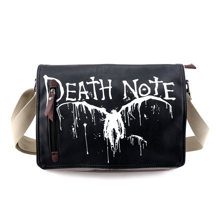 Anime Death Note Ryuuku Canvas Messenger Bag Unisex Character Single Shoulder Schoool Bags Satchels Students Cartoon Pack Bag 25 pcs lot death note notebooks cosplay ryuuku notebook and quill pen