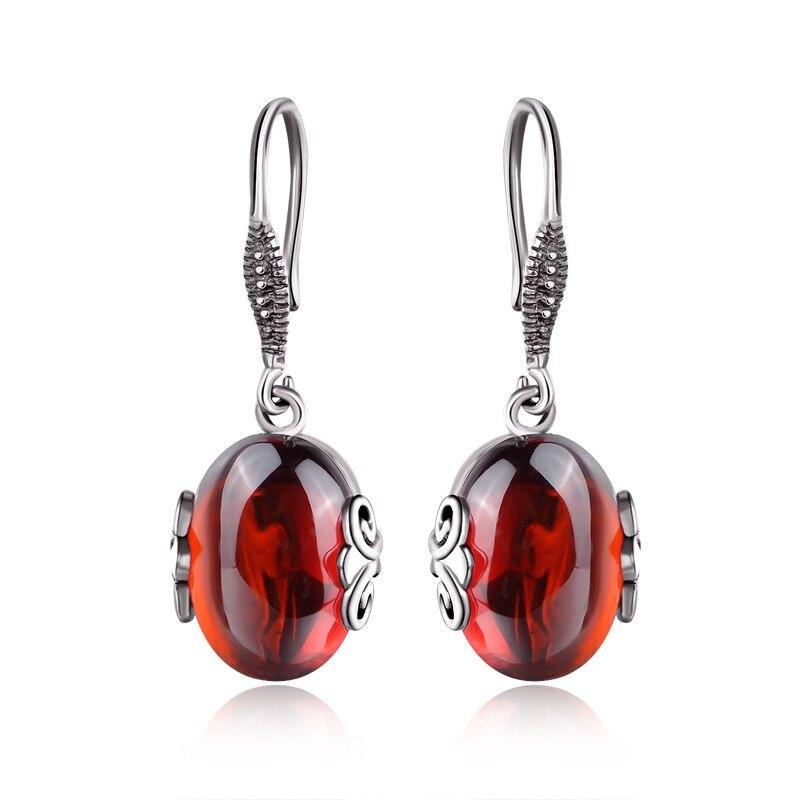 Natural semi-precious stones women red jewelry 925 pure silver blue corundum Garnet Earrings long stylish love girlfriend gift pair of stylish rhinestone semi circle earrings for women