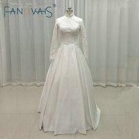 Vintage Lace Muslim Wedding Dresses Long Sleeves High Neck Beads Wedding Gowns Vestido De Novia Robe