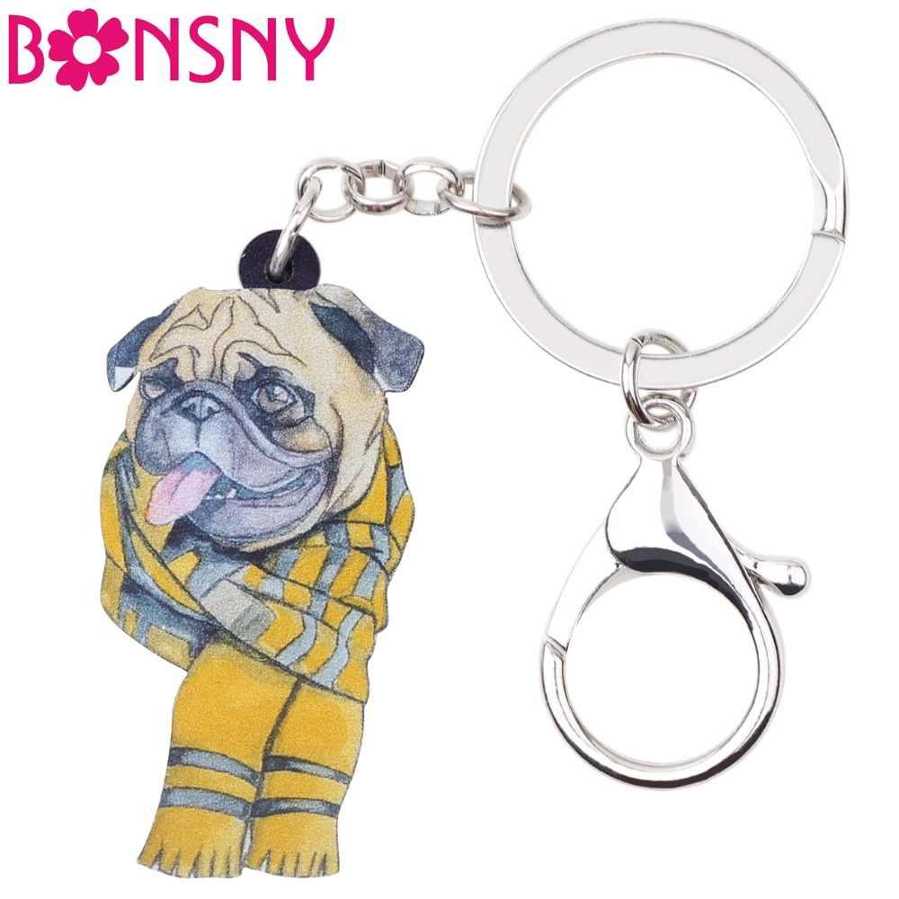 Bonsny Acrylic Phim Hoạt Hình Khăn Pháp Bulldog Pug Dog Dây Đeo Chìa Khóa Keychain Động Vật Trang Sức Cho Phụ Nữ Cô Gái Phụ Nữ Túi Xách Xe Quyến Rũ