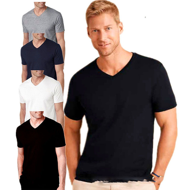 64f20e4f6835 2019 Summer Style V neck t shirt men Fashion Short Sleeve Tee Cotton ...