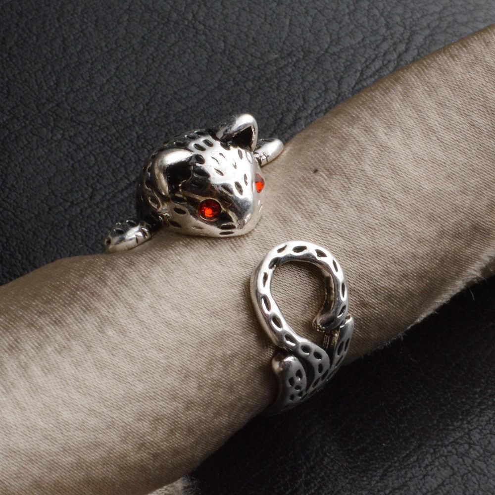 Кольцо Винтаж кольца для Для женщин 925 стерлингового серебра Лаки кошки ювелирные изделия высокого качества на заказ ручной работы Anillos Femme Mujer Aneis Ювелирные Изделия Bague