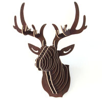 עץ פאזל 3D DIY Creative דגם תלוי על קיר הצבאים ראש Elk טבע בעלי החיים עץ קרפט מתנות קישוט הבית