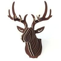 3D Puzzle Wooden DIY Creative Model Wall Hanging Deer Head Elk Wood Gift Craft Home Decoration