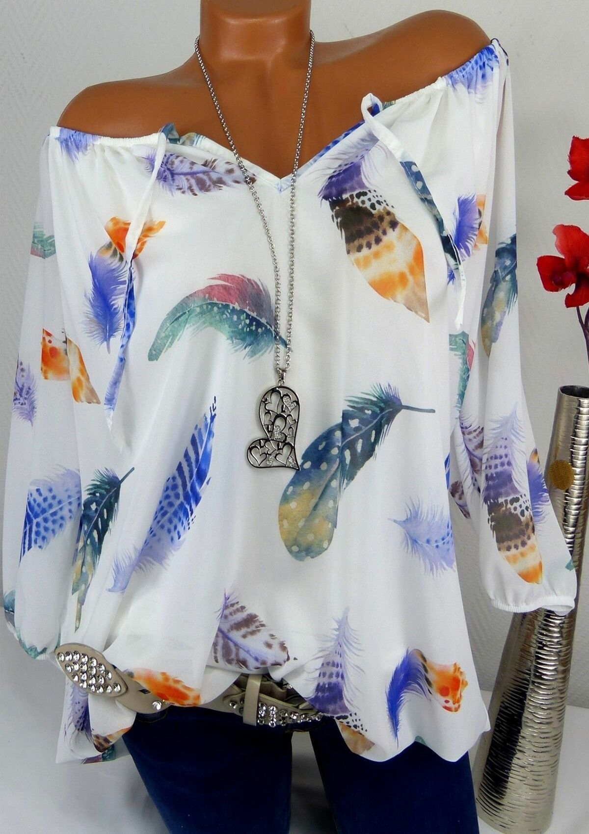 Fashion Feather Lace up Half Sleeve Women Top Casual Loose 2019 Summer Blouses Off Shoulder Plus Size 5XL Shirts Floral Print in Blouses amp Shirts from Women 39 s Clothing