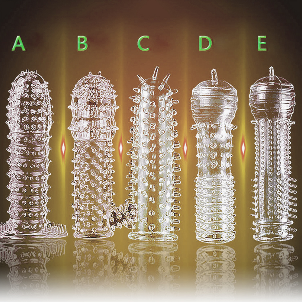 Crystal silicone 5 inch transparent condom set anti-premature ejaculation condom reusable penis bigger fun condom adult toys circumcision age and premature ejaculation