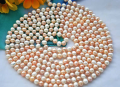 women Jewelry 100inch / 256cm 7-8mm real pearl necklace Colorful highlight Natural Freshwater pearl necklace