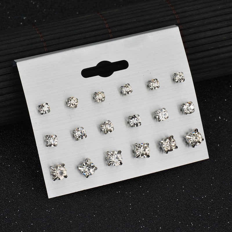 9 คู่/เซ็ตคริสตัลต่างหูเครื่องประดับ Gold Silver ต่างหูเครื่องประดับ Bijoux Brincos Aretes De Mujer