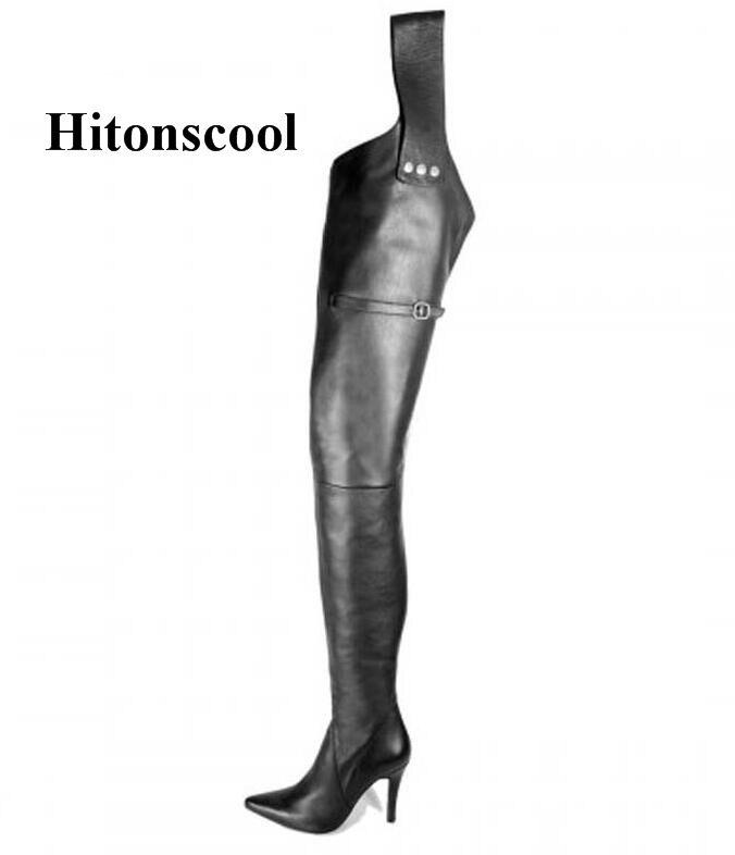Ceinture Cuisse Sur Femme Haute Pointu Longues Chaussons Chaussures Femmes Bout Noir Maintien Stylets De En Bottes Hauts Cuir Genou Talons D'hiver aXFqWP1pq