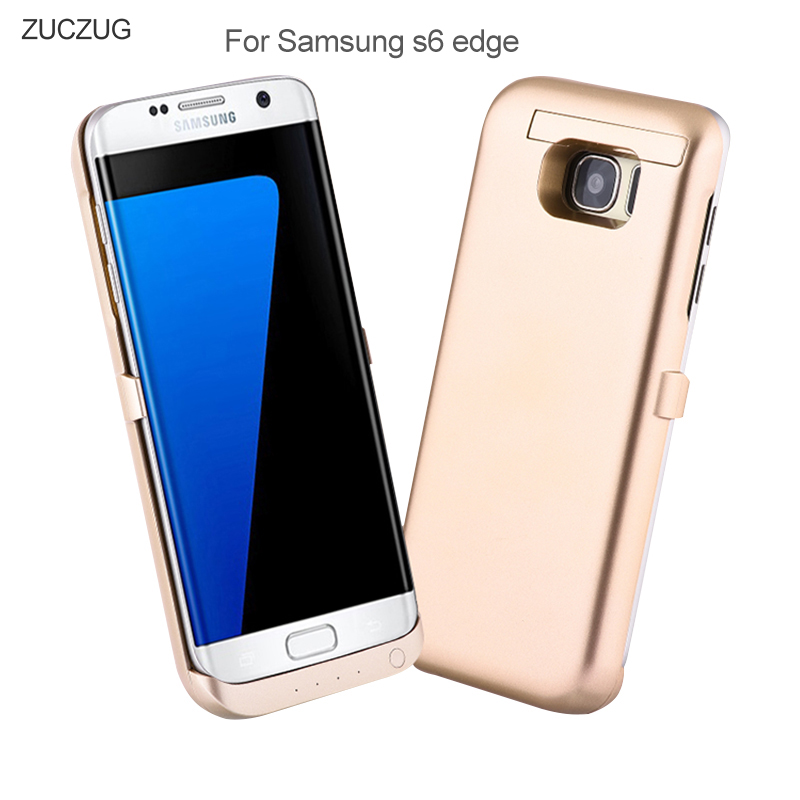 imágenes para 6500 mah Caso Del Cargador de Batería Para Samsung Galaxy S6 G9250 Borde Casos Batería Externa Cargador Portátil Cubre con Bipedestador