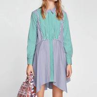 Vintage Women Striped Patchwork Long Shirts Ladies Causal Long Sleeve Turn Down Collar Blouse Tops