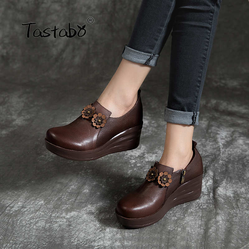 Tastabo Muffin bottom shoes Black brown flats Round toe Leisure and comfortable walking Upper decal Handmade