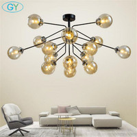 Modern Nordic Europe Art Decor ceiling lights black bronze chrome glass ceiling lamp fixture E14 candle lustres