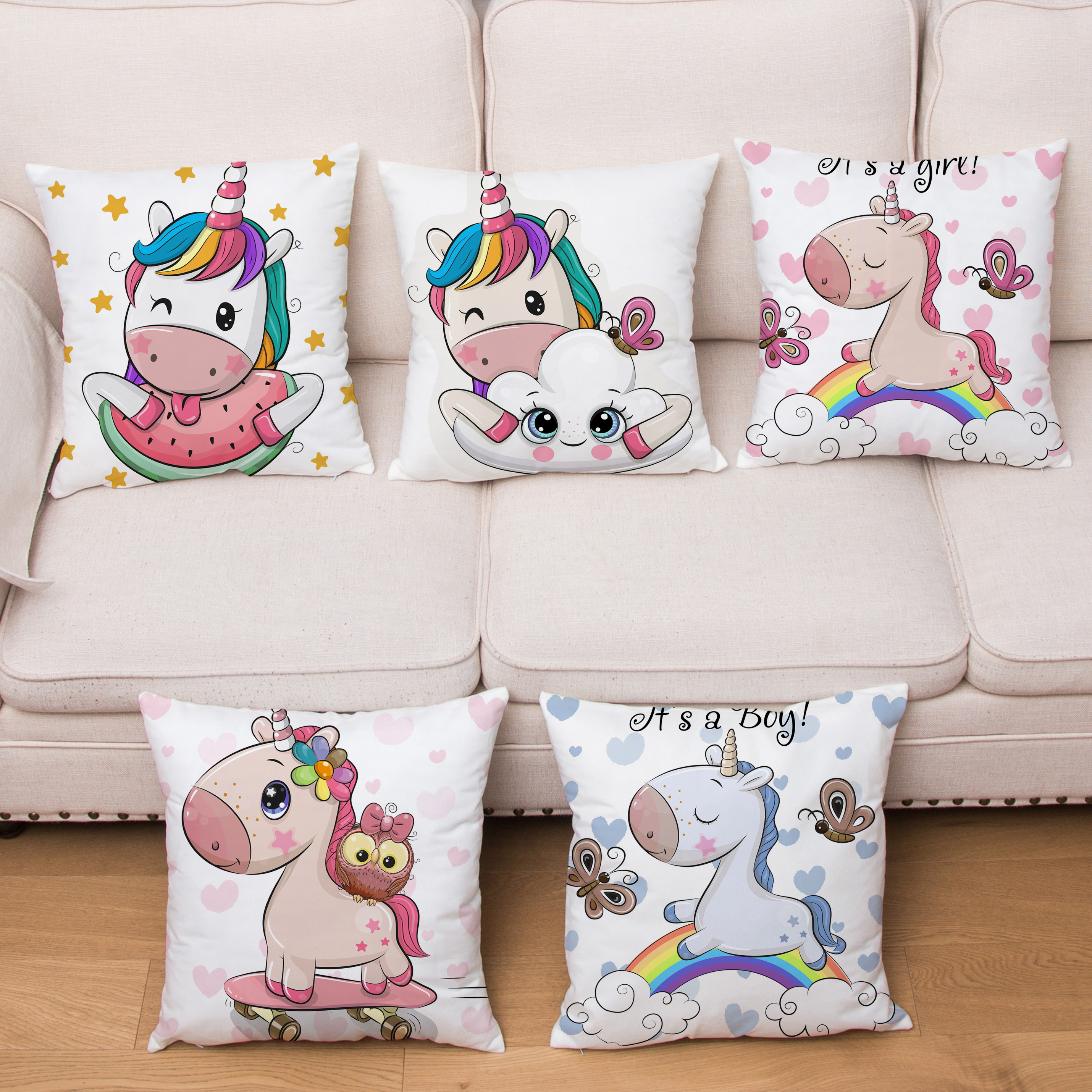 HD Cartoon Animals Unicorn Cushion Cover 45*45 Super Soft Short Plush Pillows Covers Throw Pillows Cases Home Decor Pillowcase
