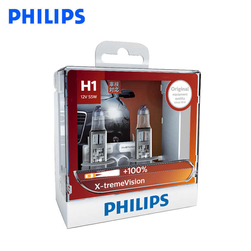 Philips Original H1 H4 H7 H11 HB3 HB4 X-treme Vision Car Headlight Bright Halogen Bulbs ECE Approve 100% More Vision, Pair