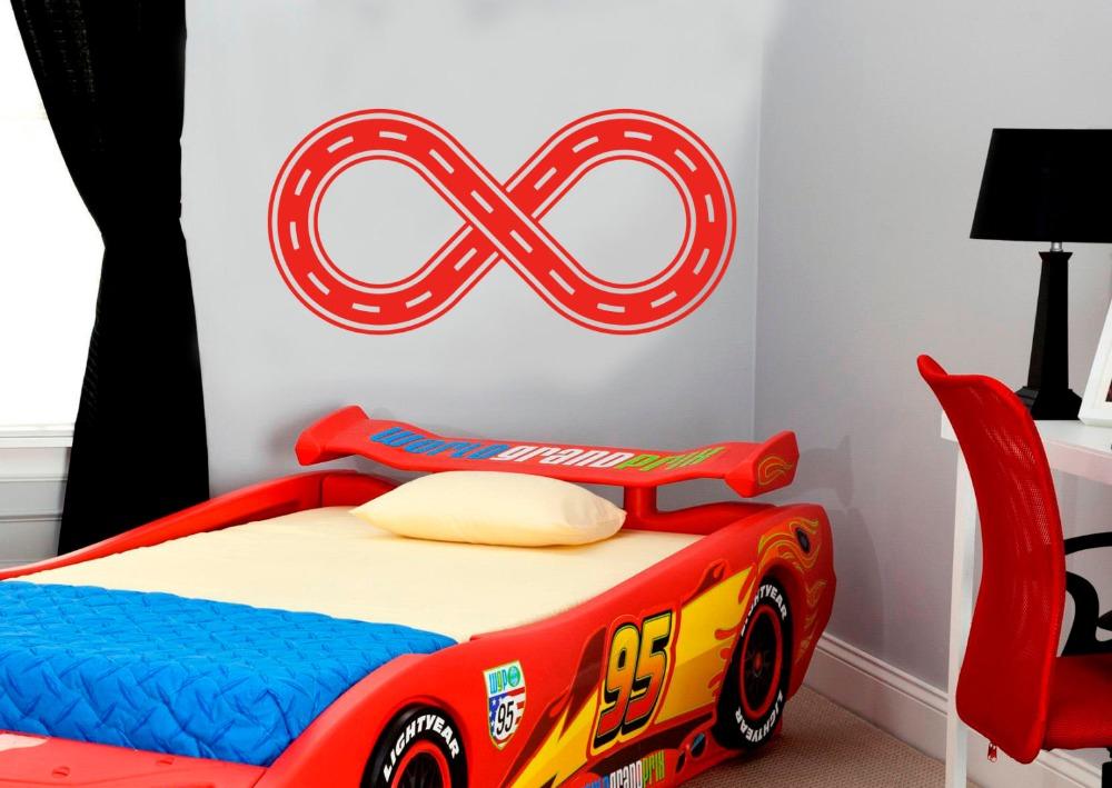 € 4.03 25% de réduction Voiture route modèle sticker Mural vinyle Raceway  Stickers muraux course route Art Mural pour enfants chambres garçons  chambre ...