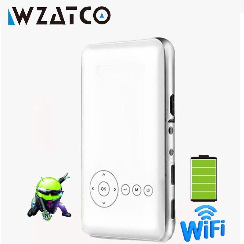 WZATCO M6 Android 7.1 Mini Projecteur DLP full hd 1080 P AC3 avec Batterie Miracast WIFI Poche Accueil Projecteur Proyector beamer