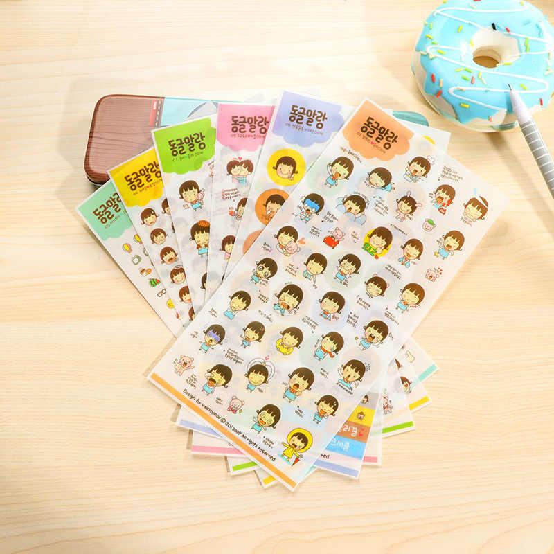 6 piezas de dibujos animados lindo etiqueta papelería transparente japonés de la infancia tiempo impermeable bricolaje álbum diario teléfono niño decorativo