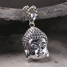 22*35MM Buddha Head Pendant 100% Real 925 Sterling Silver Necklace Pendant Vintage Carved Jewelry For Men Women Birthday Gift все цены