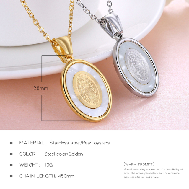 Virgin Mary Necklace Stanless Steel Women/Men Christian Jewelry Lady of Guadalupe Miraculous Medal Pendant Free Chain GX1359