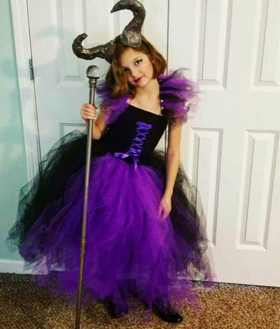 POSH DREAM maléfica niños niñas tutú vestido negro y morado villano bruja  niña Cosplay disfraz bebé 7ff4e71cdfa