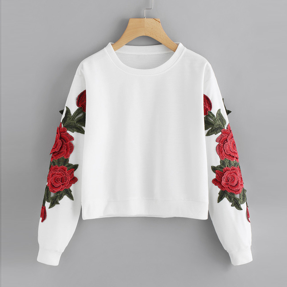 Women Long Sleeve Rose Embroidery Applique Sweatshirt O-Neck Pullover Top Blouse  #4 black and white buffalo check mugs