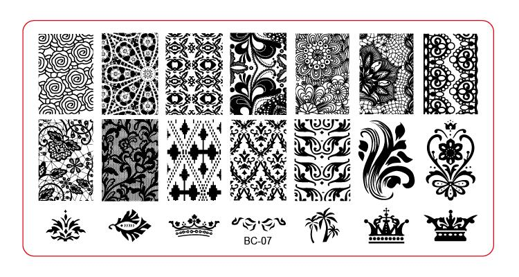 BC-07  Image Plate -1PCS/Lot New Plastic Manicure Template Nail Art Stamping Polish Print Stamper (free ship)