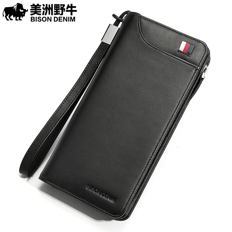 BISON DENIM fashion men wallet genuine leather long zipper clutch wallet card holder purse все цены