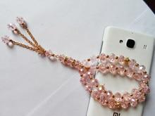 Barato todo-venda rosa cristal muçulmano rosário pulseira, 2 camadas muçulmano religioso tasbih oração contas pulseira para presentes de casamento