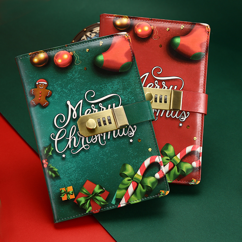 Cute PU Christmas Notebook with Password Lock School Students New Year Gift Diary Planner Notepad creative a6 diary with lock pu leather flower notebook school supplies lockable password writing pads notebook girl women gift