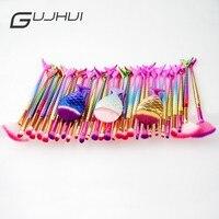 GUJHUI 11 Adet Altın Balık Terazi Makyaj Fırçalar Seti Göz Farı Kaş Karıştırma Allık Kontur Makyaj Fırçası Doğal Sentetik Saç