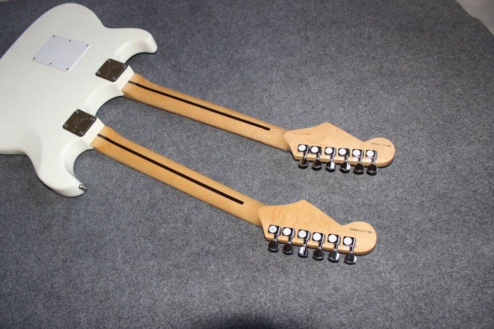 New standard Custom . ST electric guitar. 12 6 strings double neck white gitaar.support customization guitarra329 (4)