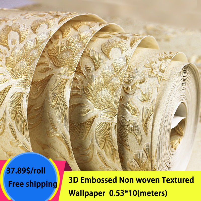 3D Embossed Textured Non-woven Damask Luxury Wallpaper for living room tv background wallpaper for wall 3d non woven bubble butterfly wallpaper design modern pastoral flock 3d circle wall paper for living room background walls 10m roll