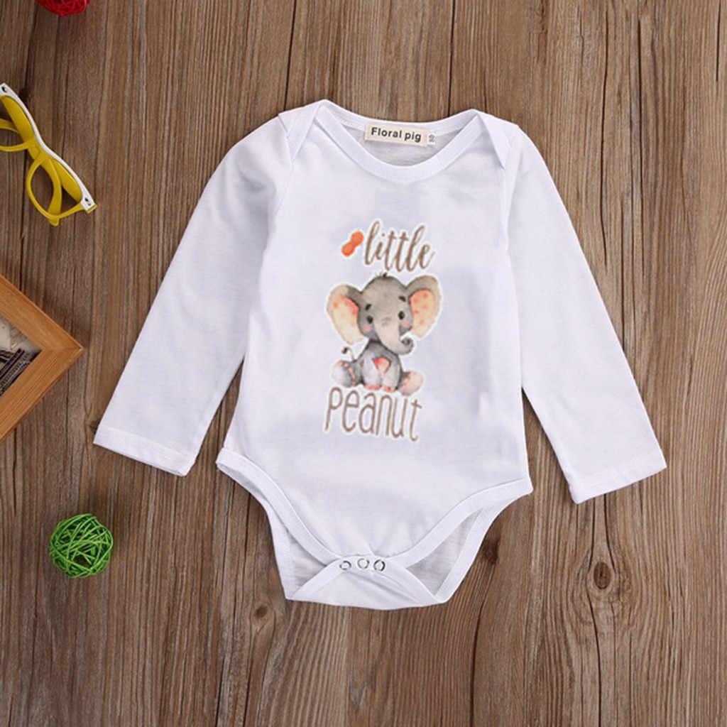 Roupa infantil Bebê Recém-nascido do Menino Roupas Meninas Meninos Elefante Dos Desenhos Animados Carta Imprimir Corpo Bodysuit Romper Do Bebê