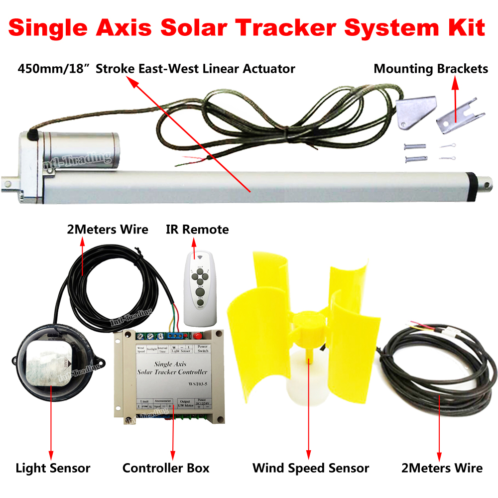 hight resolution of single axis solar panel tracking solar tracker system w 18 linear actuator 12v 1500n