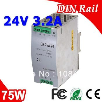 DR-75-24 LED Single Output Din Rail Switching Power Supplies Transformer DC 24V 3.2A Output SMPS