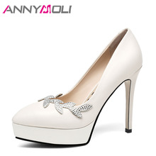ANNYMOLI Genuine Leather Women High Heels Platform Shoes Crystal Pointed Toe Thin Heels Wedding Shoes Bridal Beige Elegant Pumps(China)