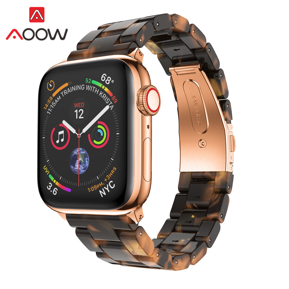 Resin Watchband For Apple Watch 38mm 40mm Rose Gold Folding Buckle White Women Men Replace Bracelet Band Strap For Iwatch 12 3 4