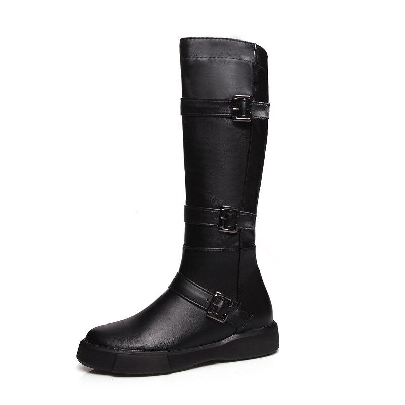 d174769cea619e Chaussures Femme D'hiver Nouvelle Genou 43 Noir Taoffen Haute blanc Rond  Bottes 34 Fourrure Bout Femmes Dame Appartements Boucle Mode Chaude De  Taille ...