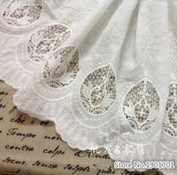 Biały Stereo hafty koronki tkaniny bawełniane koronki tkaniny białe 130 cm DIY doll odzież spódnica materiał