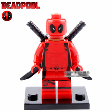 Single Sale Red Deadpool Wade T Wilson with Gun X MEN Avengers minifig Model XINH191 DIY