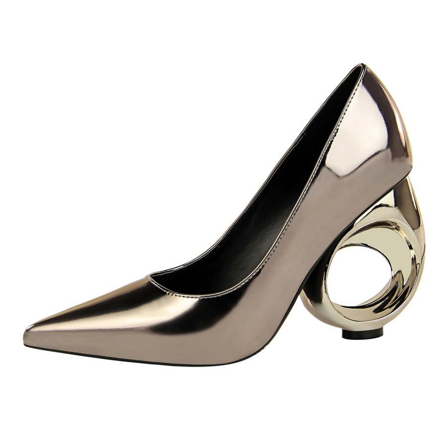 Fiesta Mujeres Zapatos Extraño Rebaño Bombas Henlu} Alto champagne Tacón {d Mujer Boda Talón plata bronzo amp; De Las Zapato Estilo Negro EgZtqEYxw