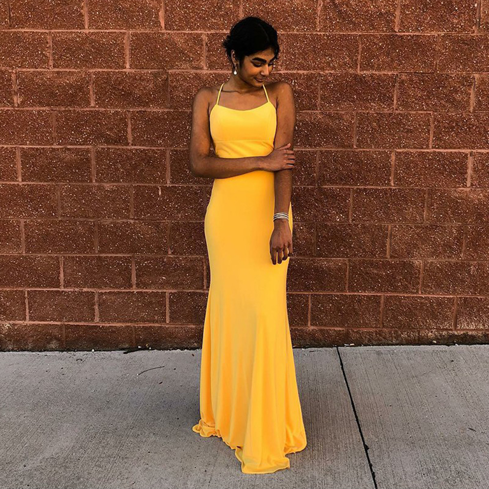 Bbonlinedress Mermaid Spaghetti   Prom     Dress   Lace-Up Long   Dress     Prom   2019 Yellow Chiffon Evening   Dress   Sexy Backless Evening Gowns