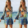 Mulheres beach dress summer dress chiffon curto feminino mulheres mangas compridas dress 2016 verão solto casual vestido roupas femininas z05
